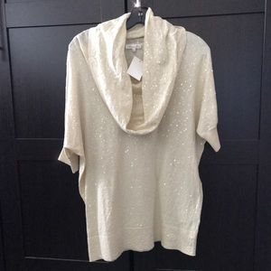 Minnie Rose Sequin Cowl Neck Top  - NWT